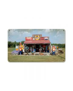 Gas Station, Home and Garden, Metal Sign, 14 X 8 Inches