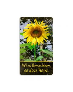 Sunflower, Home and Garden, Metal Sign, 8 X 14 Inches
