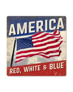 American, Home and Garden, Metal Sign, 12 X 12 Inches
