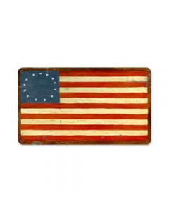 US Flags 13 Stars, Home and Garden, Metal Sign, 14 X 8 Inches