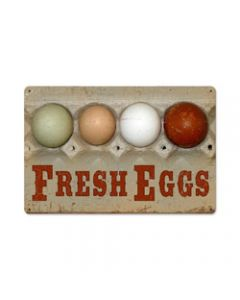 Fresh Eggs, Home and Garden, Vintage Metal Sign, 18 X 12 Inches