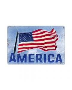 American, Home and Garden, Metal Sign, 18 X 12 Inches