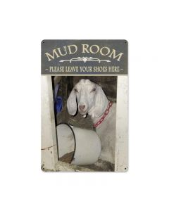 Mud Room Goat, Home and Garden, Metal Sign, 12 X 18 Inches