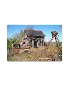 Farm House, Home and Garden, Metal Sign, 18 X 12 Inches