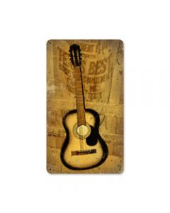 Texas Guitar, Home and Garden, Metal Sign, 8 X 14 Inches