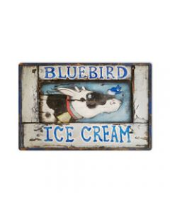 Blue Bird Ice Cream, Home and Garden, Metal Sign, 18 X 12 Inches