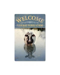 Welcome Cow, Home and Garden, Metal Sign, 18 X 12 Inches