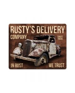 Rusty\'s Delivery Co. In Rust We Trust, Automotive, Metal Sign, 15 X 12 Inches