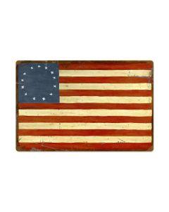 US Flag Thirteen , Patriotic, Metal Sign, 24 X 16 Inches