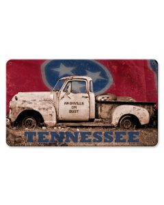 NASHVILLE OR BUST TRUCK WITH FLAG, Licensed Products/Angela Faye Daniel, SATIN METAL SIGN , 14 X 8 Inches