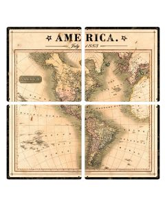 Vintage Antique America Map, July 1883, 4 Piece METAL Sign, Wall Decor, Wall Art, North America, South America