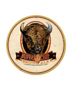 Buffalo Chip Brown Ale, Food and Drink, Round Metal Sign, 14 X 14 Inches