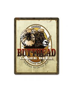 Butthead Lager, Food and Drink, Vintage Metal Sign, 12 X 15 Inches