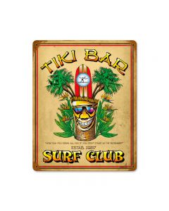 Tiki Bar, Food and Drink, Vintage Metal Sign, 12 X 15 Inches