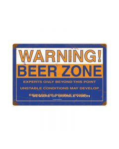 Beer Zone, Food and Drink, Vintage Metal Sign, 18 X 12 Inches