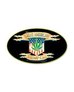 American Hemp, Humor, Oval Metal Sign, 24 X 14 Inches