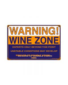 Wine Zone, Food and Drink, Vintage Metal Sign, 18 X 12 Inches