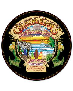 Coastal Eddys, Bar and Alcohol, Round Metal Sign, 14 X 14 Inches