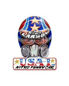 Bruce Larson USA, Automotive, Helmet Metal Sign, 12 X 15 Inches