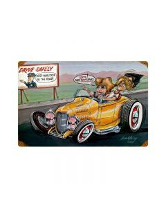 Drive Safely, Automotive, Vintage Metal Sign, 18 X 12 Inches