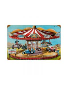 Crazy Kids Carousel, Automotive, Vintage Metal Sign, 18 X 12 Inches