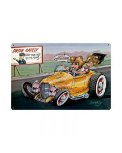 Drive Safely, Automotive, Vintage Metal Sign, 36 X 24 Inches
