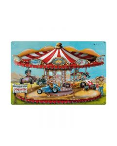 Crazy Kids Carousel, Automotive, Vintage Metal Sign, 36 X 24 Inches