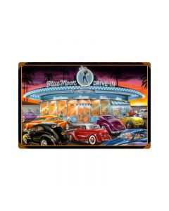 Blue Moon Drive In, Automotive, Vintage Metal Sign, 18 X 12 Inches