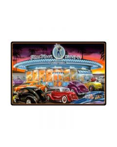 Blue Moon Drive In, Automotive, Metal Sign, 36 X 24 Inches