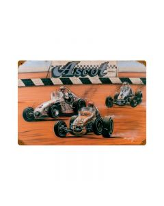 Shoot Out At Ascot, Automotive, Vintage Metal Sign, 18 X 12 Inches