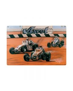 Shoot Out At Ascot, Automotive, Metal Sign, 36 X 24 Inches
