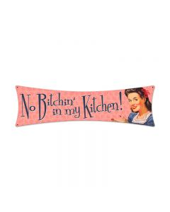 No Bitchin', Home and Garden, Bowtie Metal Sign, 27 X 8 Inches