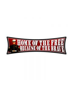 Free Brave, Allied Military, Bowtie Metal Sign, 27 X 8 Inches
