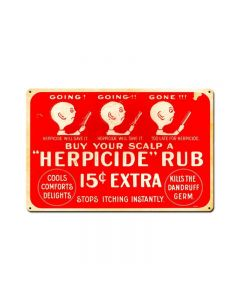 Herpicide, Nostalgic, Vintage Metal Sign, 18 X 12 Inches