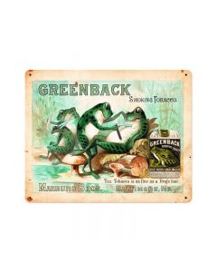 GREENBACK, Nostalgic, Vintage Metal Sign, 15 X 12 Inches