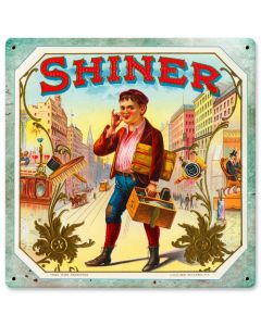 SHINER, Nostalgic, Vintage Metal Sign, 12 X 12 Inches