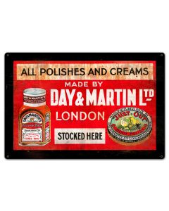 DAY AND MARTIN SHOE POLISH, Nostalgic, Vintage Metal Sign, 18 X 12 Inches