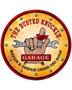 Busted Knuckle Garage, Automotive, Round Metal Sign, 28 X 28 Inches