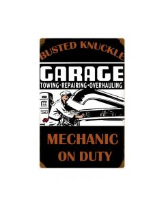Mechanic On Duty, Automotive, Vintage Metal Sign, 12 X 18 Inches