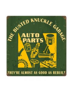 Auto Parts, Automotive, Vintage Metal Sign, 12 X 12 Inches
