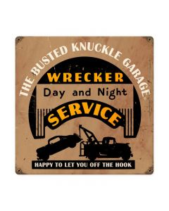 Wrecker Service, Automotive, Vintage Metal Sign, 12 X 12 Inches