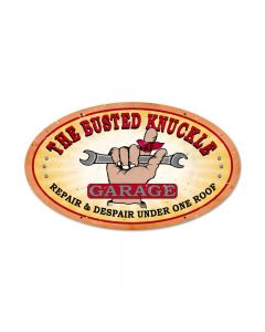 Busted Knuckle Garage, Automotive, Oval Metal Sign, 24 X 14 Inches