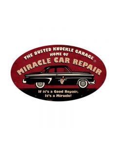 Miracle Repair, Automotive, Oval Metal Sign, 24 X 14 Inches