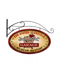 Busted Knuckle Garage, Automotive, Double Sided Oval Metal Sign with Wall Mount, 24 X 14 Inches
