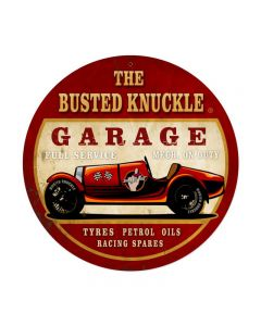 Old Race Car, Automotive, Round Metal Sign, 14 X 14 Inches