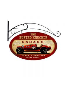 Old Race Car, Automotive, Double Sided Oval Metal Sign with Wall Mount, 24 X 14 Inches