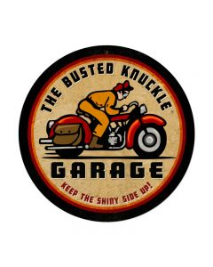Retro Rider, Motorcycle, Round Metal Sign, 14 X 14 Inches
