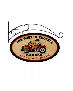 Retro Rider, Motorcycle, Double Sided Oval Metal Sign with Wall Mount, 24 X 14 Inches