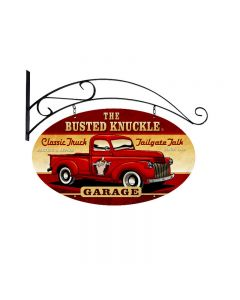 Old Truck, Automotive, Double Sided Oval Metal Sign with Wall Mount, 24 X 14 Inches