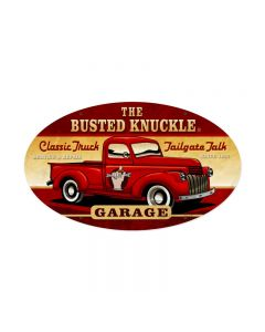 Old Truck, Automotive, Oval Metal Sign, 24 X 14 Inches